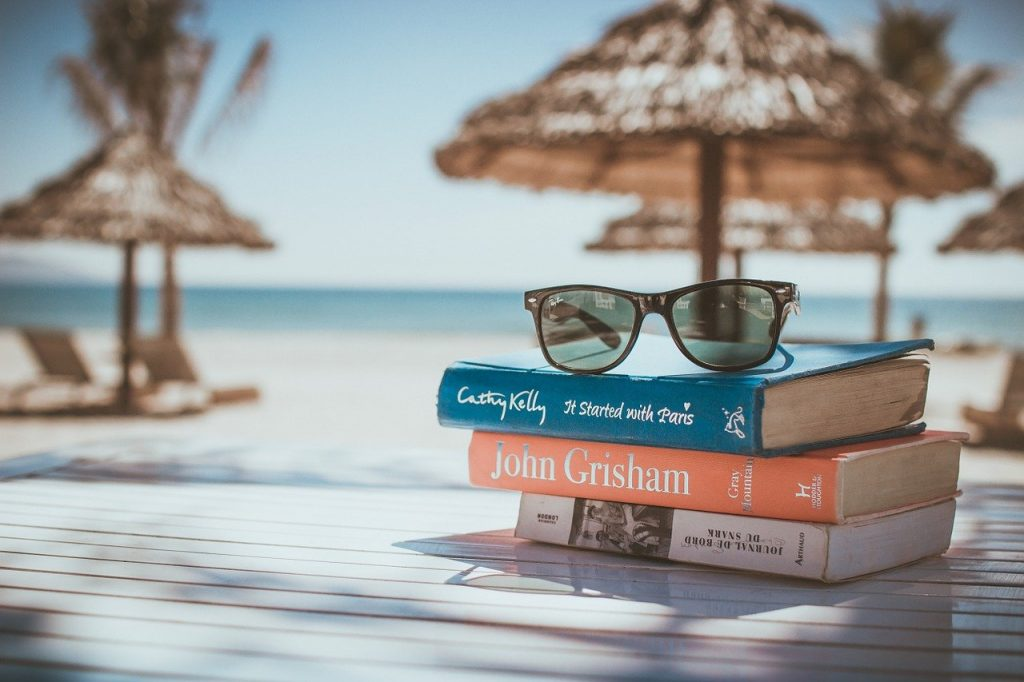 books, reading, beach